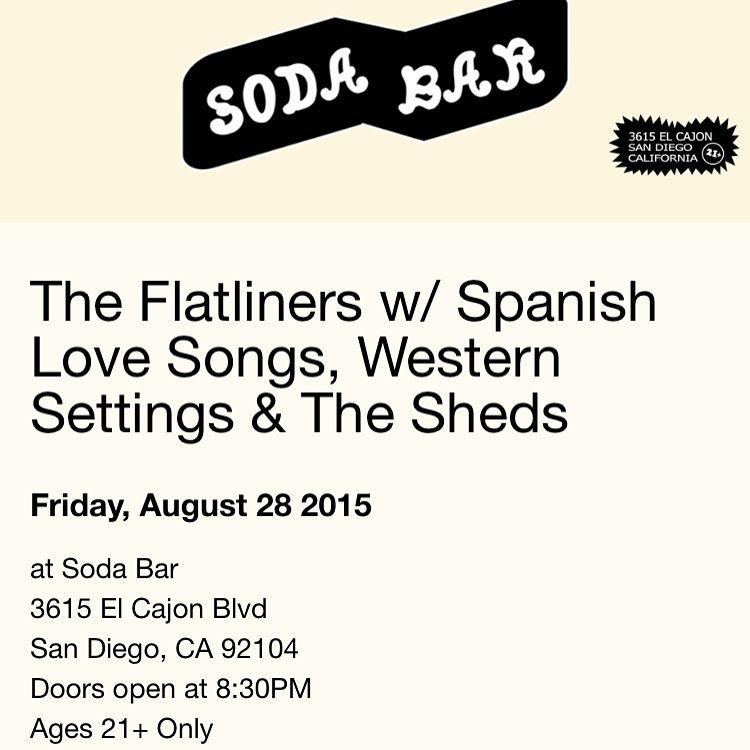 Tonight at Soda Bar! sodabarsd theflatliners spanishlovesongs westernsettings thesheds fatwreckchordshellip
