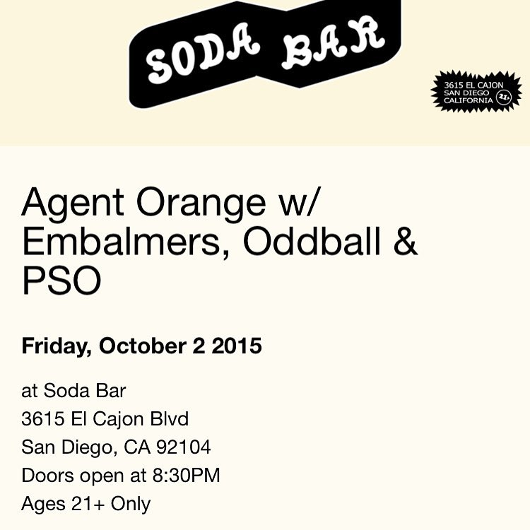 Tonight! Agent Orange at Soda Bar! sodabarsd agentorange agentorangeband sandiegopunkhellip